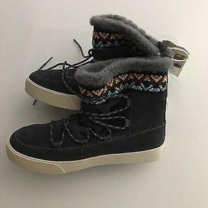 Sale Toms Boots Gray Suede Faux Fur Lining Sz 8.5